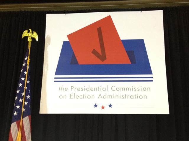 Image of American flag and signage for the Presidential Commission on Election Administration
