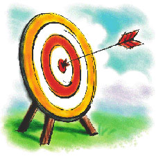 Image of a target with an arrow right in the center.