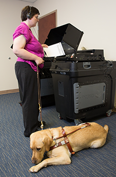Voter who is blind using an accessible voting machine