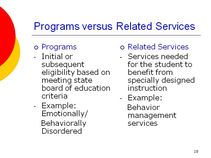 Programs Versus Related Services
