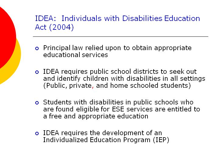 the individuals with disabilities education improvement act laws Lewis m wasserman,the rights of parentally-placed private school students under the individuals with disabilities education improvement act of 2004 and the need for legislative reform , 2009 byu educ& lj 131 (2009.