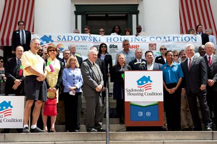 Photograph of attendees of the Sadowski Housing Rally at the Florida state capitol.
